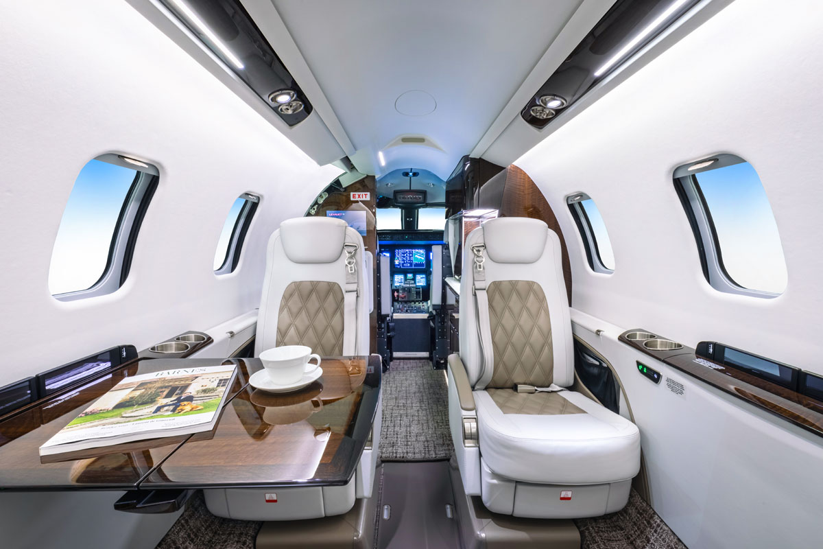 Skyservice Charter Fleet Light Jet Learjet 75-3 Interior with table